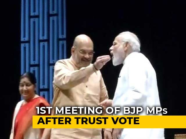 Video : <i>Laddoos</i> For PM, New Seating Plan At First BJP Meet Since No-Trust Vote