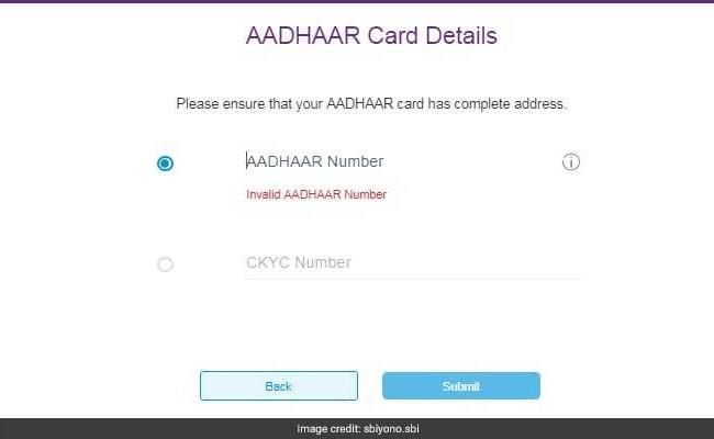 sbi aadhaar sbi yono website