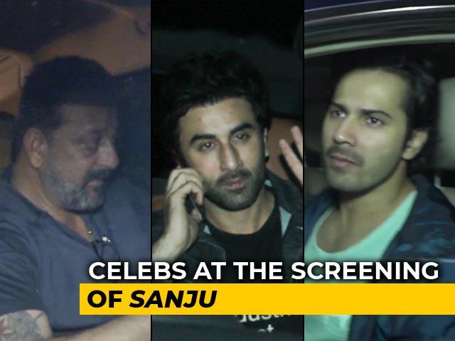 Video : Sanjay Dutt, Ranbir Kapoor, Varun Dhawan & Others At The Screening Of <i>Sanju</i>