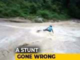 Video : Biker's Narrow Escape After Stunt Across Flowing Waterfall In Uttarakhand