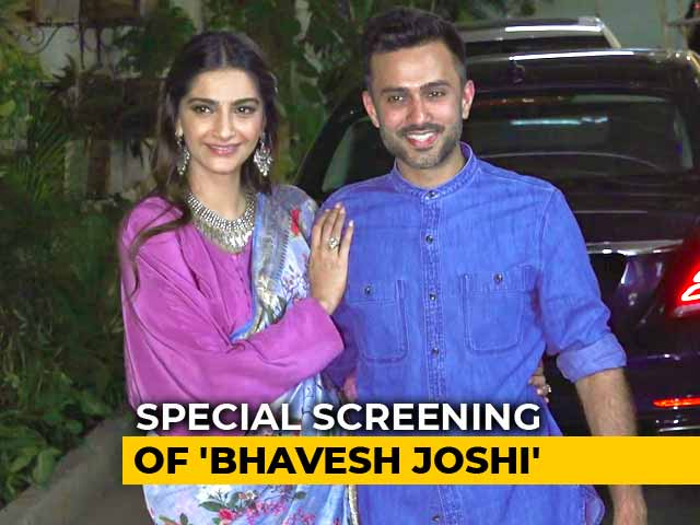 Sonam Kapoor & Anand Ahuja At The Screening Of Bhavesh Joshi