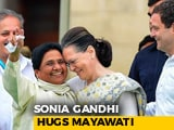Video: Watch: Sonia Gandhi, Mayawati Hug At Kumaraswamy Swearing-in Ceremony