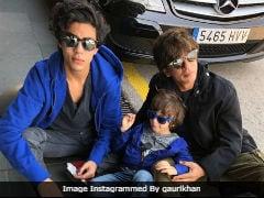 Shah Rukh Khan, Aryan And AbRam 'Soak Up The Sun' In Barcelona. Pic Credit - Gauri