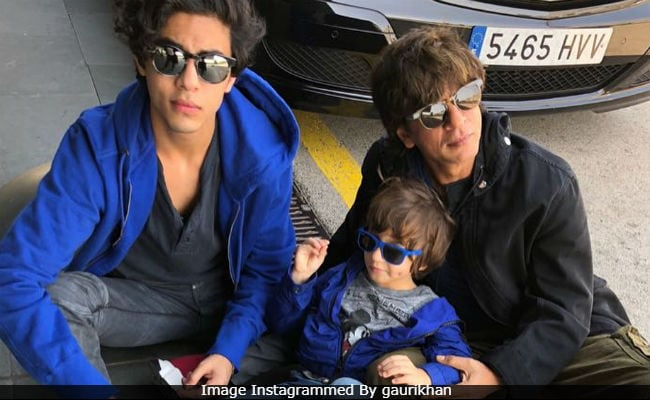 Shah Rukh Khan, Aryan And AbRam 'Soak Up The Sun' In Barcelona. Pic Credit - Gauri