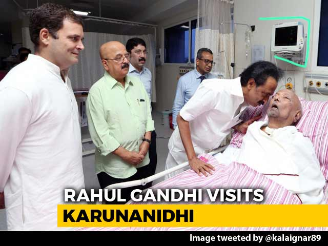 Video : Rahul Gandhi Visits DMK Chief M Karunanidhi In Hospital