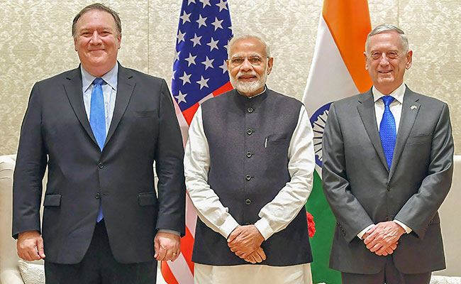 Image result for pics of pompeo and mattis in delhi