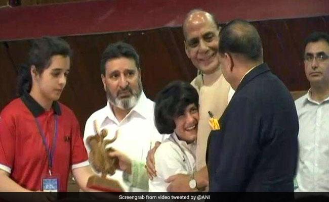 Watch: 9-Year-old Kickboxing Champ Hugs Rajnath Singh, Wins Hearts