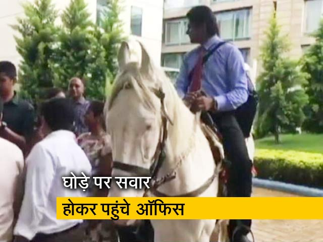 Videos : नौकरी के आखिरी दिन घोड़े से दफ्तर पहुंचे अफसर