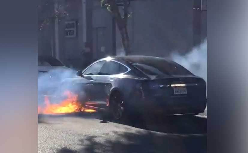 Tesla said it has sent a team to investigate the fire video on Chinese social media