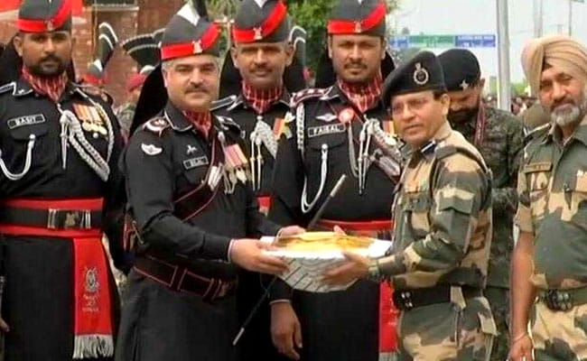 On Pakistan Independence Day BSF, Rangers Exchange Sweets At Wagah Border