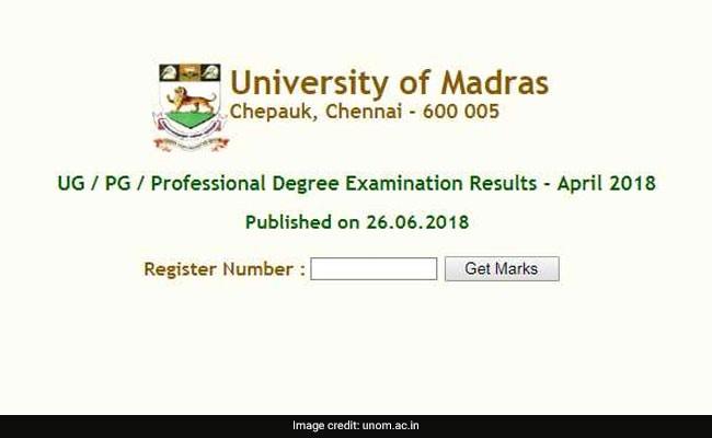 unom result 2018, madras university result, madras university UG result, madras university PG result