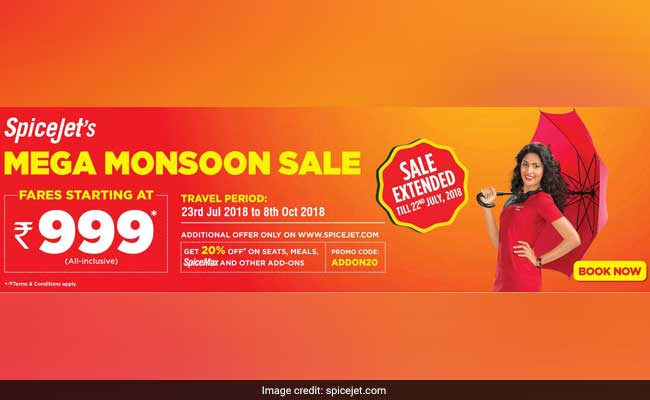 SpiceJet's Sale Extended Till July 22, Offers Flight Tickets From Rs. 999