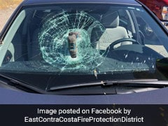 Drill Machine Falls Out Of Vehicle, Smashes Into Windshield Of Moving Car
