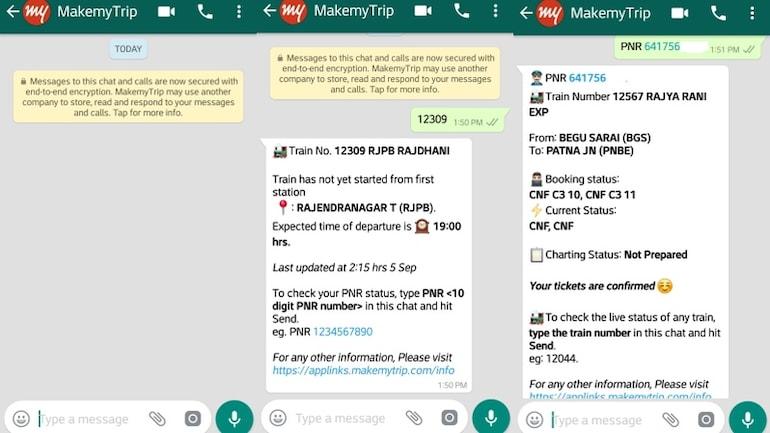WhatsApp से जानें PNR और लाइव ट्रेन स्टेटस