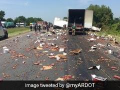 Miniature Whiskey Bottles Make Big Mess On Highway After Truck Crash
