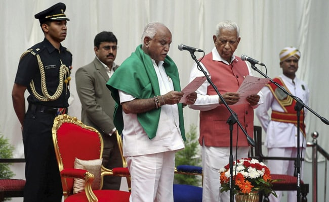 yeddyurappa-takes-oath-cm-protests-outside-vidhana