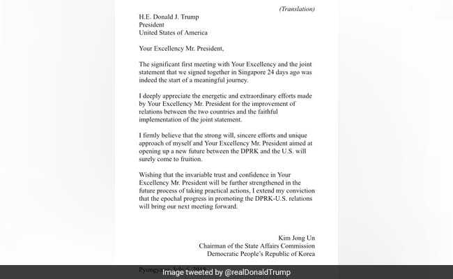 "Month After Summit, Trump Tweets ""Very Nice"" Letter From Kim Jong"