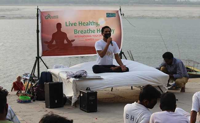 yoga with wearing mask   varanasi